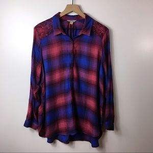 Lucky Brand Purple And Blue Plaid Blouse, XL